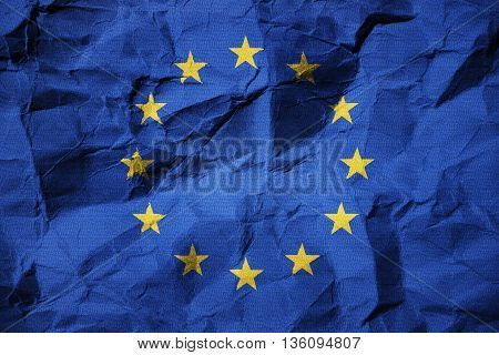 3D illustration flag of the European Union on creased paper - European Crisis