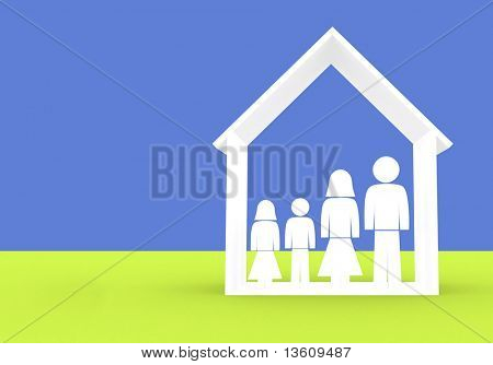 family illustration made in 3d good for home insurance designs