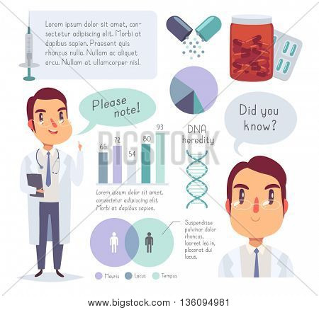 Medical icons, data elements, infographic. Doctor character. Isolated objects in cartoon style. Vector illustration.
