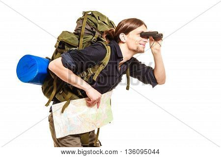 Man Backpacker With Map Looking Through Binoculars
