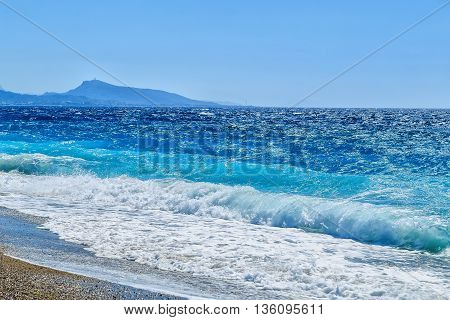 coastline of the island of Rhodes from the Aegean Sea and the city of Rhodes