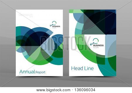 Brochure template of annual report cover, vector business flyer layout, geometric abstract poster, A4 size