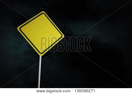 Blank yellow warning road sign on night sky background. Mock up 3D Rendering