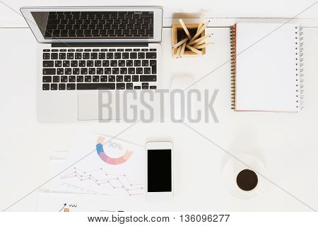 Office Desktop With Electronic Devices