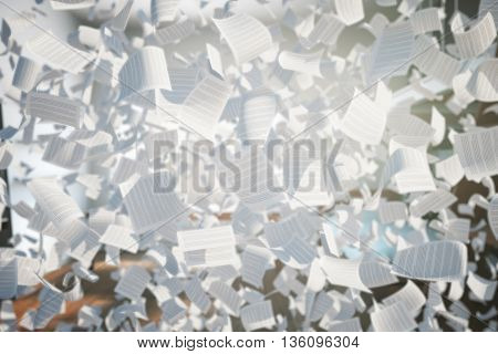 Flying paper sheets with text on abstract background. 3D Rendering