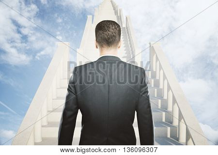 Success concept with businessman climbing light concrete stairs in the sky. 3D Rendering