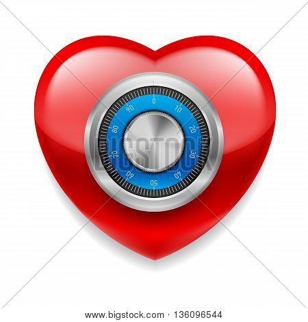 Glossy red heart with safe code lock. Love or life in safe