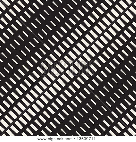 Vector Seamless Black And White Diagonal Halftone Rectangles Pattern. Abstract Geometric Background Design