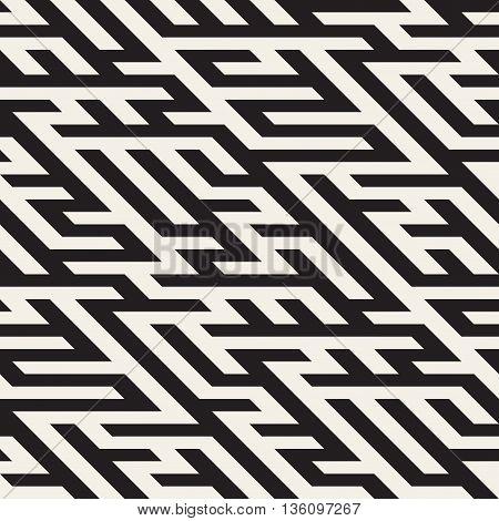 Vector Seamless Black And White Maze Diagonal Line Geometric Irregular Pattern. Abstract Geometric Background Design