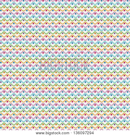 Bright colorful seamless pattern for baby style. Vector illustration for children background. Funny crazy kids paint. Happy geometry shapes. Wave and dot simple ornament for gretting card, invitation.