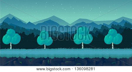 Night Forest Forest Game Background for 2d game application. Vector design. Tileable horizontally. Size 1024x512.