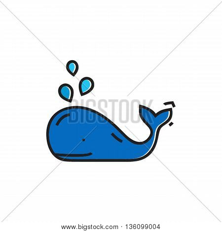 Smiling whale with water fountain. Marine animal, sea creature, logo. Marine animal concept. Can be used for topics like sea animal, zoology, marine mammals