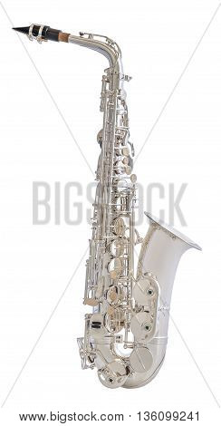 Silver Saxophone. Classical Music Wind Instrument Isolated on White Background