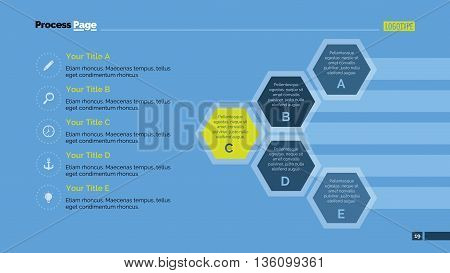 Process chart slide template. Business data. Graph, diagram, design. Creative concept for infographic, templates, presentation, marketing. Can be used for topics like management, banking, finance.