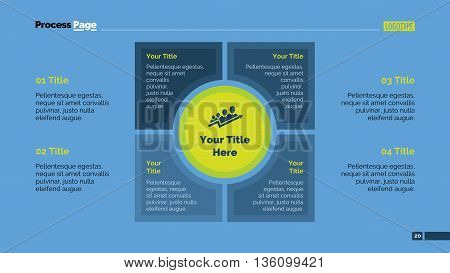 Process mind map slide template. Business data. Chart, graph, diagram. Concept for infographic, business templates, presentation, marketing. Can be used for topics like banking, management, finance.