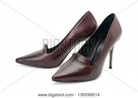 Women's high-heeled shoes isolated on white background