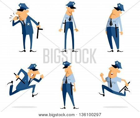 Vector illustration of a six policeman set