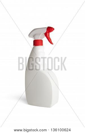 Plastic bottle with sprayer for liquids isolated on white background. With clipping path
