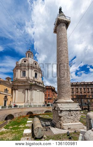 Trajan's Column and Church of the Most Holy Name of Mary at the Trajan Forum
