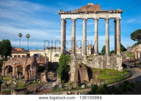 Colonnade of the Temple of Saturn in Roman Forum (Foro Romano), Rome, Italy
