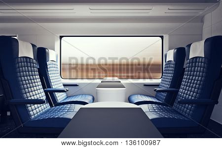 Interior Inside First Class Cabin Modern Speed Express Train.Nobody Blue Chairs Window.Comfortable Seat and Table Business Travel. 3D rendering.High Textured Row Materials. Motion Blurred Background