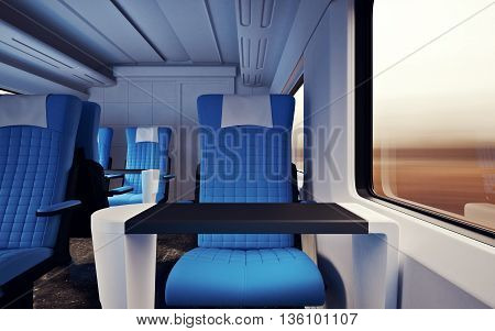 Interior Inside First Class Cabin Modern Speed Express Train.Nobody Red Chairs Window.Comfortable Seats and Table Business Travel. 3D rendering.High Textured Row Materials. Motion Blurred Background