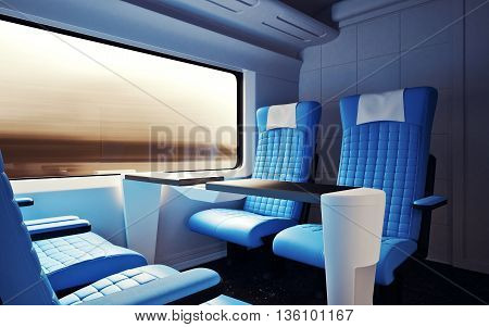 Interior Inside First Class Cabin Modern Speed Express Train.Nobody Leather Chairs Window.Comfortable Seats and Table Business Travel. 3D rendering.High Textured Row Materials. Motion Blur Background