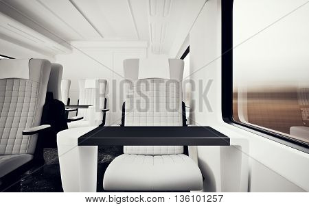 Interior Inside First Class Cabin Modern Speed Express Train.Nobody White Leather Chair Window.Comfortable Seat Table Business Travel.3D rendering.High Textured Row Material.Motion Blurred Background