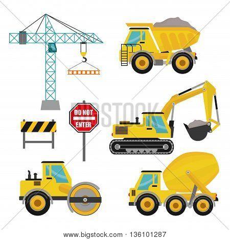 Construction machinary design, vector illustration eps 10.