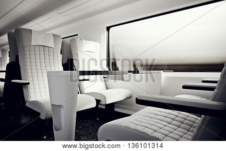 Interior Inside Private Class Cabin Modern Fast Express Train.Nobody White Leather Chair Window.Comfortable Seat Table Business Travel.3D rendering.High Textured Row Material.Motion Blur Background