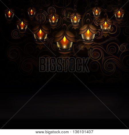 Beautiful lanterns on patterned background. Vector illustration eps10