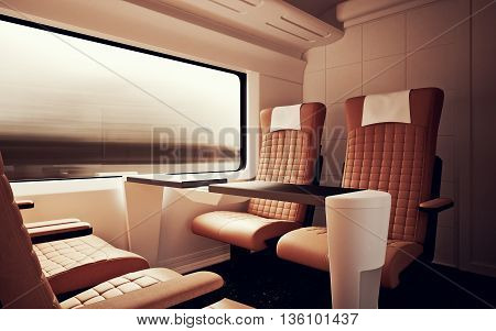 Interior Inside First Class Cabin Modern Speed Express Train.Nobody Brown Chairs Window.Comfortable Seats and Table Business Travel. 3D rendering.High Textured Row Materials. Motion Blur Background