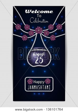 Happy Janmashtami. Illustration of hanging dahi handi. Template for flyer or invitation. Vector illustration eps10