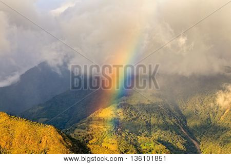 Aerial View Of An Rainbow Over Andean Mountains South America