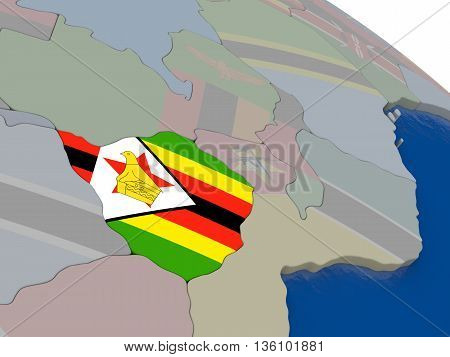 Zimbabwe With Flag