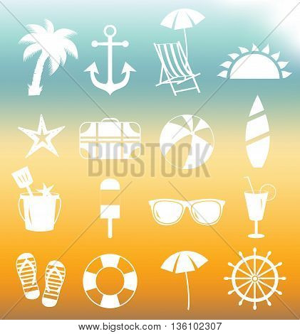 Summer icons. Beach white icons. Vector illustration.