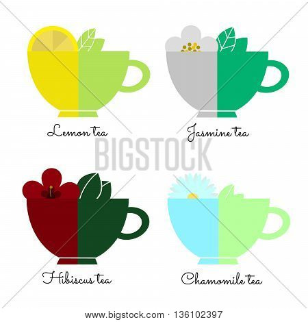 Set tea cups isolated on white. Different types of tea. Vector illustration eps10