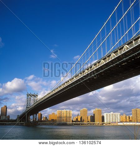 View of the Manhattan Bridge at sunny day.