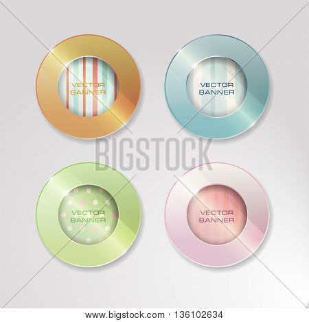 Vector banners set. 4 bright colors. round glass elements