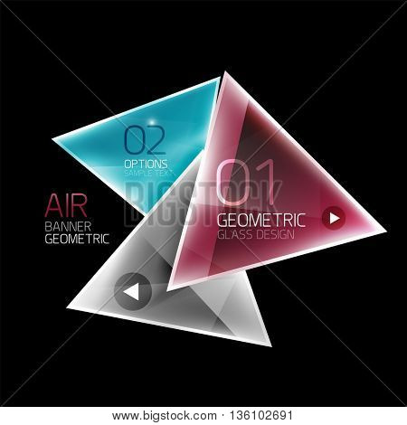 Shiny triangle abstract background, business geometric template with sample text