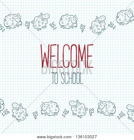 Vector Illustration Sketch of Sheep. Cute Sheep background.  School theme. notebook. welcome to school