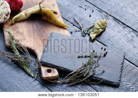Kitchen utensil. Cutting board on the table