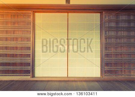 Japanese sliding paper door ,Filtered image processed vintage effect.