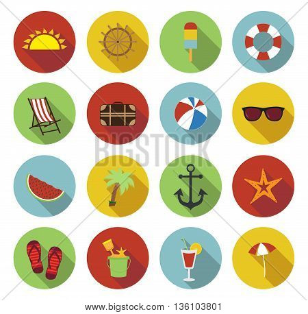 Summer icons. Flat design with long shadow. Colorful summer icons. Vector illustration.