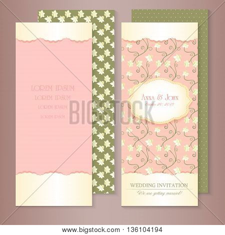 Marriage invitation card set. Vector illustration. Floral Save the Date or wedding set. English style. golden frame
