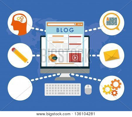 Blog, blogging and blogglers theme design, vector illustration graphic