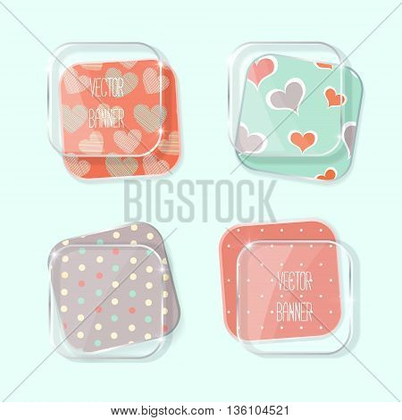 Vector banners set. glass elements. gray and pink color. Vector label with a glass surface.  background with hearts