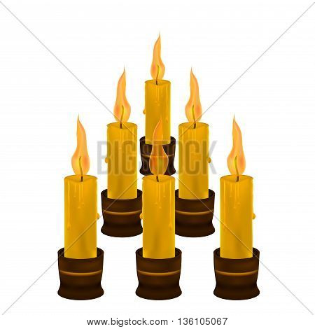 lots of candles on a white background .