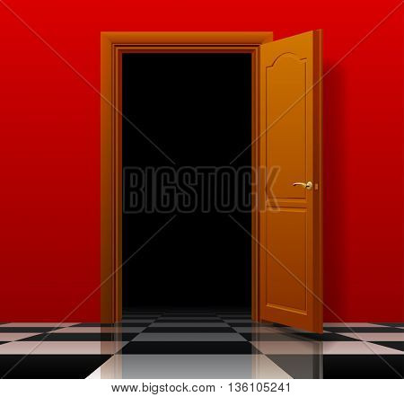 Open brown door with red wall and glossy chess floor. Interior concept design. Vector illustration