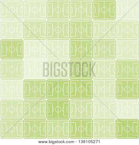 Green and white color football, soccer field vector background. Checkered backdrop. Sport pattern